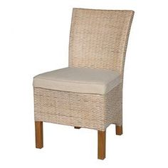 """Gather friends for a fresh seafood dinner in style with this eye-catching essential from Jeffan, a welcoming addition to your dining room or three-season porch.Product: Side chair    Construction Material: Wood and rattan    Color: White-washed   Features:  Brings chic island style to your bedroom, dining room, or sun porch    Plush seating    Elegantly arced back, and sleek, high arms for eye-catching appeal  Dimensions: 35.5"""" H x 20"""" W x 25"""" D"""