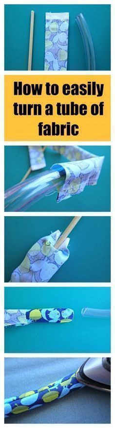 I'd heard of this but never seen it actually done. Must give it a try - how to easily turn a tube of fabric the right side out. #easyhandcrafttricks