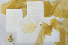 Wedding invitation on handmade paper. Delicate flowers for the envelope liner and the invitation card. Ocher hand dyed silk ribbon completes the look. Wedding Invitation Design, Wedding Stationery, Dyed Silk, Envelope Liners, Silk Ribbon, Personalized Wedding, Invitation Cards, Wedding Day, Delicate
