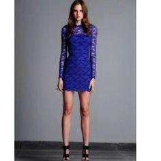 Alexis Blue Lace Dress With Detachable Long Skirt
