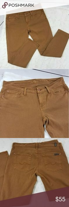 """7 for all Mandkind jeans A dark khaki/brown/mustard yellow mix! These would complete any outfit!  Waist 16"""" across  Rise 8""""  Inseam 27.5"""" 7 For All Mankind Jeans Skinny"""