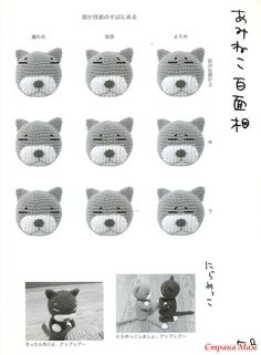Different expressions for an amigurumi Amineko cat, Gato Crochet, Crochet Eyes, Crochet Cat Pattern, Crochet Diy, Crochet Cross, Crochet Gifts, Crochet Dolls, Crochet Patterns, Amigurumi Patterns