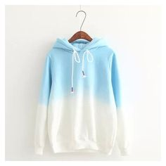 Gradient Color Korean Hooded Long Sleeves Hoodie Oh Yours Fashion ❤ liked on Polyvore featuring tops, hoodies, white hoodies, long sleeve hoodie, hooded top, long sleeve tops and long sleeve hooded sweatshirt
