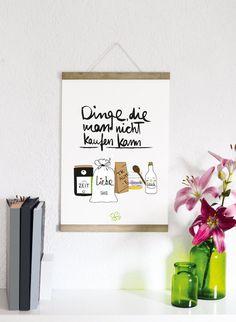Dinge -  Druck von Formart  Der Druck wurde für Dich mit Tusche und Pinsel von Hand geschrieben, illustriert und anschließend Druckschön gemacht.   Der Druck kommt sich er verpackt in einem...
