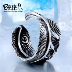 New Arrive Stainless Steel Men Feather Ring Fashion Opening Small Eagle Poular Vintage In Jewelry Vintage Gold Engagement Rings, Rose Gold Engagement Ring, Fashion Rings, Fashion Jewelry, Gold Sapphire Ring, Feather Ring, Unique Rings, Jewelry Rings, Male Jewelry