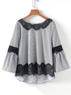 Shop Lace Insert V Back High Low Striped Blouse online. SheIn offers Lace Insert V Back High Low Striped Blouse & more to fit your fashionable needs. Blouse Styles, Blouse Designs, Batik Fashion, Blouse Models, Whimsical Fashion, Dresses Kids Girl, Curvy Girl Fashion, Blouse Outfit, Maxi Dress With Sleeves