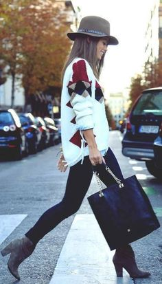 awesome winter outfit / hat + bag + black skinnies + boots + sweater