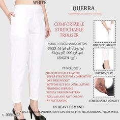 Checkout this latest Trousers & Pants Product Name: *Women Comfort Stretchable Trouser* Fabric: Lycra Pattern: Solid Multipack: 1 Sizes:  26, 28, 30, 32, 34, 36, 38, 40, 42 Country of Origin: India Easy Returns Available In Case Of Any Issue   Catalog Rating: ★4.1 (5117)  Catalog Name: Women Comfort Stretchable Trouser CatalogID_1646493 C79-SC1034 Code: 703-9390723-327