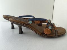 "Clarks Indigo Womens Shoes Size 6.5 Brown Leather Kitten Heel 2 3/4"" Sandals New #ClarksIndigo #Slides #Casual"