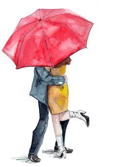 couple engagement idea fashion illustration umbrella red prop
