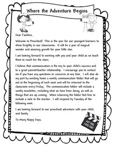 Introduction letter to parents from a new teacher teacher learning and teaching with preschoolers welcome parents letter thecheapjerseys Image collections
