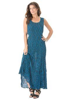 Plus Size A Line Crinkle Maxi Dress