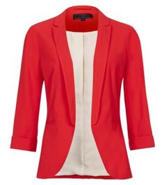 Red Crepe Roll Sleeve Blazer