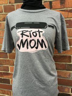 Image of riot mom t-shirt, melange grey