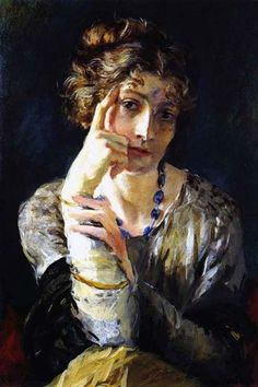 Mariano Fortuny y Madrazo.  A painting by Fortuny of his wife Henriette, 1915.