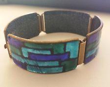 Designer Armband Kupfer türkis/blaue Emaille SCHOLZ & LAMMEL & SCHIBENSKY