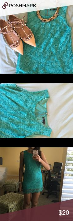 🎉HP 8/5 🎉 AMAZING TEAL LACE DRESS FAST SHIPPING🎉 TAKING OFFERS🎉               This beautiful dress was bought from a boutique in France (not top shop) a few years ago. It has been worn many times but the lace is in perfect condition. I love this dress but it's getting too short for me (I'm 5'5). Says it's size M but I think it fits a Small better. Ask any questions Topshop Dresses Mini