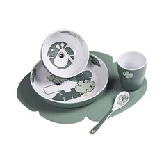 It's dinnertime for you and your Done by Deer friends! Sweet toddler dinner set includes a clever compartment plate