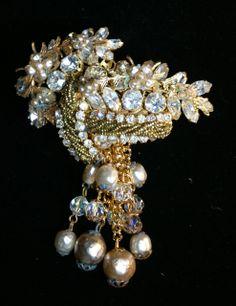 Signed Robert Rhinestone Faux Pearl Brooch and Earrings Set 1940's