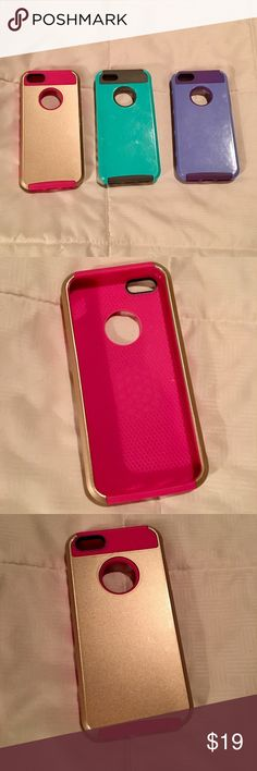Three iPhone 5 cases in pink, teal & purple Three iPhone 5 cases in pink, teal & purple all are in gently used condition. Accessories Phone Cases