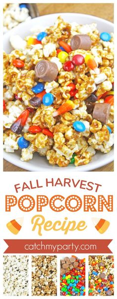 Fall Harvest Popcorn Recipe | CatchMyParty.com #popcornrecipe #thanksgivingrecipe #popcorn #thanksgivingdessert Thanksgiving Cakes, Thanksgiving Dinner Recipes, Thanksgiving Parties, Delicious Dinner Recipes, Holiday Recipes, Yummy Food, Popcorn Recipes, Snack Recipes, Snacks