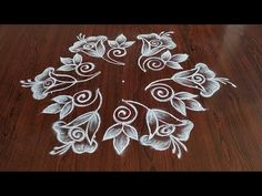 Easy rangoli simple rangoli Easy chukkala muggulu Easy latest flower design rangoli Thanks for watching 🙏🙏 P. Rangoli Side Designs, Rangoli Designs Latest, Simple Rangoli Designs Images, Free Hand Rangoli Design, Rangoli Patterns, Colorful Rangoli Designs, Rangoli Ideas, Beautiful Rangoli Designs, Simple Flower Design