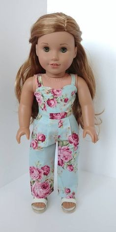 f4f4746c256 18 inch doll clothing. Fits like American girl doll clothes .18 inch doll  clothes. Blue floral print jumper