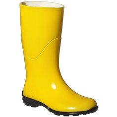 Womens Anna Solid Rain Boots - Yellow ($25) ❤ liked on Polyvore