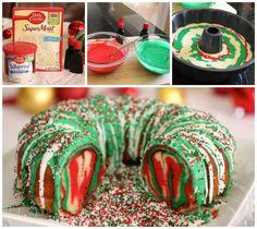 Rainbow Tie-dye Christmas Wreath Bundt Cake