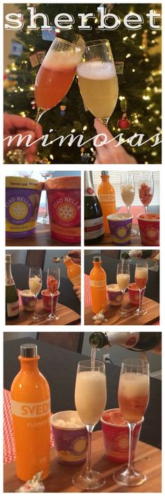 Sherbet Mimosas!! Sherbet or Sorbet with your favorite champagne. Creates instant mimosa! SO delicious. Orange Sherbet or Lemon Sherbet is yummy - The Cookie Rookie whole foods, sherbet mimosa