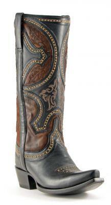 Womens Lucchese Mosaic Persia Cowboy Boots Black #M4862