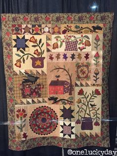 My Garden Party by Debbie Shives quilted by Janice Kiser Stow, Ohio Hand-appliqued, machine pieced and quilted