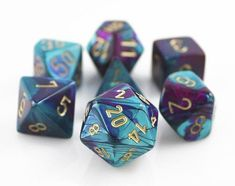 Gemini Dice (Purple and Teal). Get rolling with Gemini Dice. This RPG dice set has all your favorites: d4, d6, d8, d10, d%, d12, and d20.