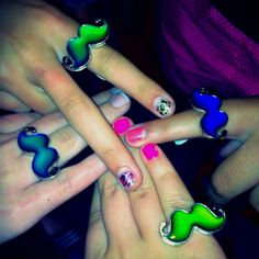 Mustache mood rings! A Fabulous party favor to give out DURING the party!