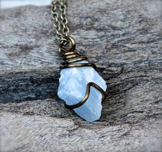 Blue Calcite Necklace Raw Stone Jewelry by MermaidTearsDesigns, $30.00