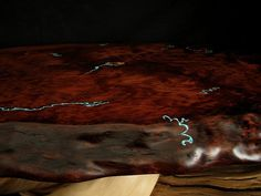 Handcrafted Juniper Log Furniture Lamp; Turquoise Inlay: Juniper Coffee Table, Redwood Top & Turquoise Inlay