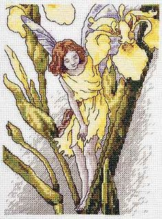 Cross stitch - fairies: Iris fairy - Cicely Mary Barker - close-up segment (free pattern with chart)