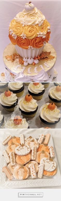 Fall / Autumn theme birthday for a baby girl's 1st birthday. Giant smash cupcake with pumpkin and leaf accents, cupcakes with fondant pumpkin toppers, and royal icing painted shortbread cookies. Orange ombre, white, and gold colour scheme. Keyword: sugar cookie. - created via https://pinthemall.net