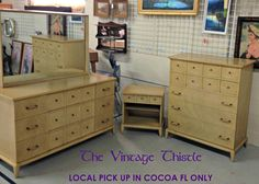 Mid Century Thomasville blonde mahogany bedroom set LOCAL PICK UP only by VintageThistleMarket on Etsy https://www.etsy.com/listing/211530651/mid-century-thomasville-blonde-mahogany