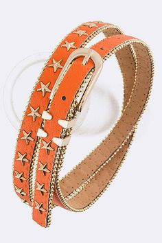 Orange Star Studs Skinny Fashion Belt #DiscountedPalace