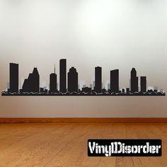 Houston Texas Skyline Vinyl Wall Decal or Car Sticker  Vinyl