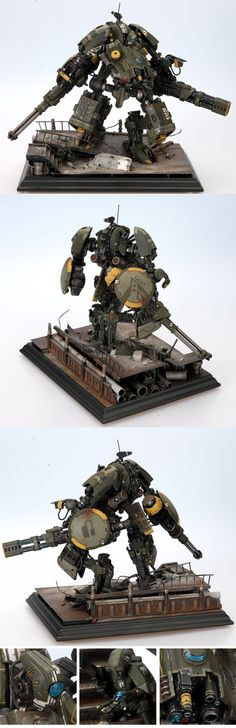 XV202 Tau Battlesuit - The amount of kitbashing I can hardly comprehend. Various pieces of the Tau battletanks/crisis suits to make a mecha. So cool.