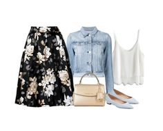 """Denim jacket (outfit only)"" by blueeyed-dreamer ❤ liked on Polyvore featuring Chicwish, 3x1, Barbara Bui, MICHAEL Michael Kors, flats, denimjacket, floralskirt and outfitonly"