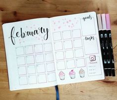Bullet journal monthly calendar, grid calendar, cupcake drawings. | @crafter.pillar