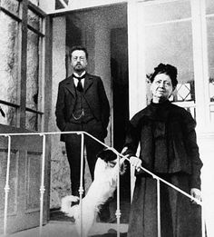 """Anton Chekhov, a woman, and a little dog. Of course, makes me think of his short story, """"The Lady with the Little Dog."""""""
