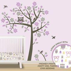 Owl Tree Wall Decals - Owl Nursery Theme - Tree Wall Decals to match Pink Purple Gray Owl Nursery