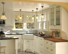 I like how the sink is in the corner. Farmhouse Sink Design, Pictures, Remodel, Decor and Ideas - page 3