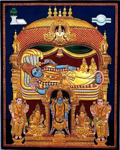 Lord Renganatha - Vishnu Reclining on a Serpent Tanjore Painting