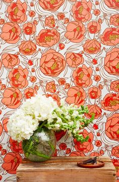 Peony wallpaper - Hand-drawn by featured designer Caitlin Keegan. This fun + feminine print is a best seller and will brighten any space! Bathroom Wallpaper, Print Wallpaper, Home Wallpaper, Easy Bathroom Updates, Simple Bathroom, Paper Peonies, Temporary Wallpaper, Bathroom Pictures, Bathroom Ideas