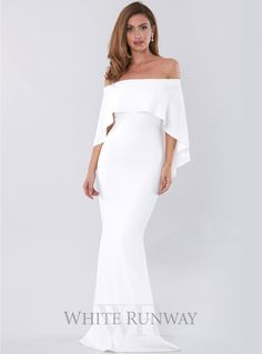 Composure Gown. A stunning full length gown by Pasduchas. An off-shoulder style featuring a flowy overlay over the bust, shoulders and back.